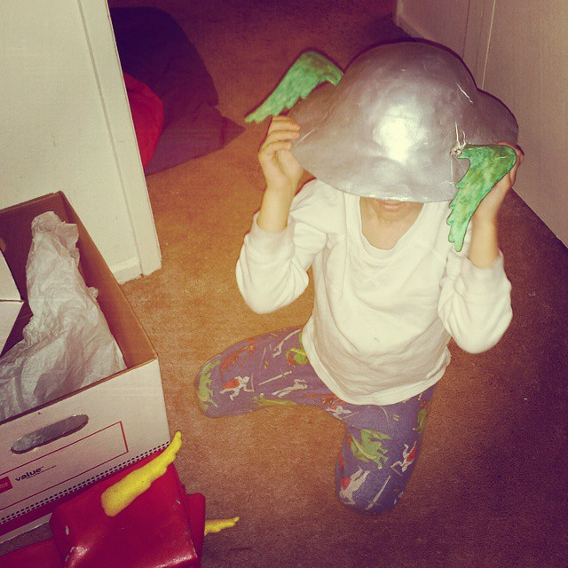 Someone got into the old #cosplay supplies. That poor helmet didn't weather a few years in a box very well, did it? #TheFlash #JayGarrick #kids