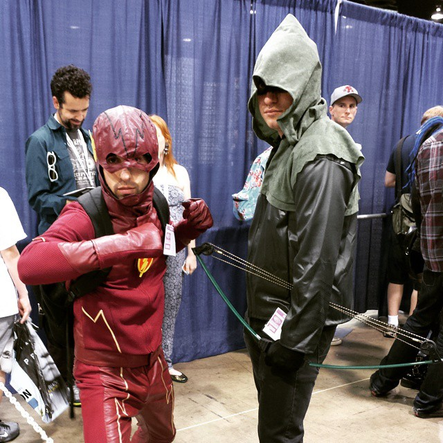 TV Flash & Arrow waiting to get into on Sunday morning