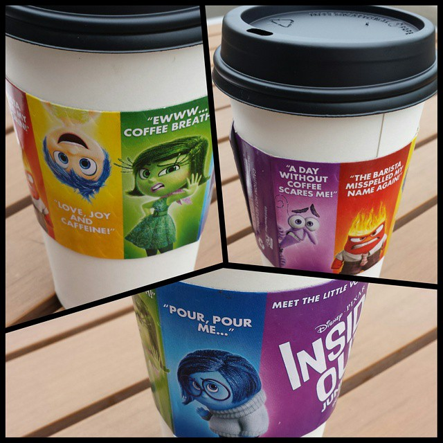 Pixar knows how to advertise with coffee.  Normally I don't like these glossy coffee sleeves because they don't insulate very well (plus the ads tend to be just irrelevant), but I like the thought put into this one.  #coffee #ads #pixar #disney #coffeecup #InsideOut
