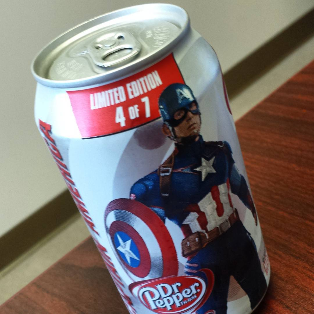Diet Dr. Pepper can with Captain America on it.