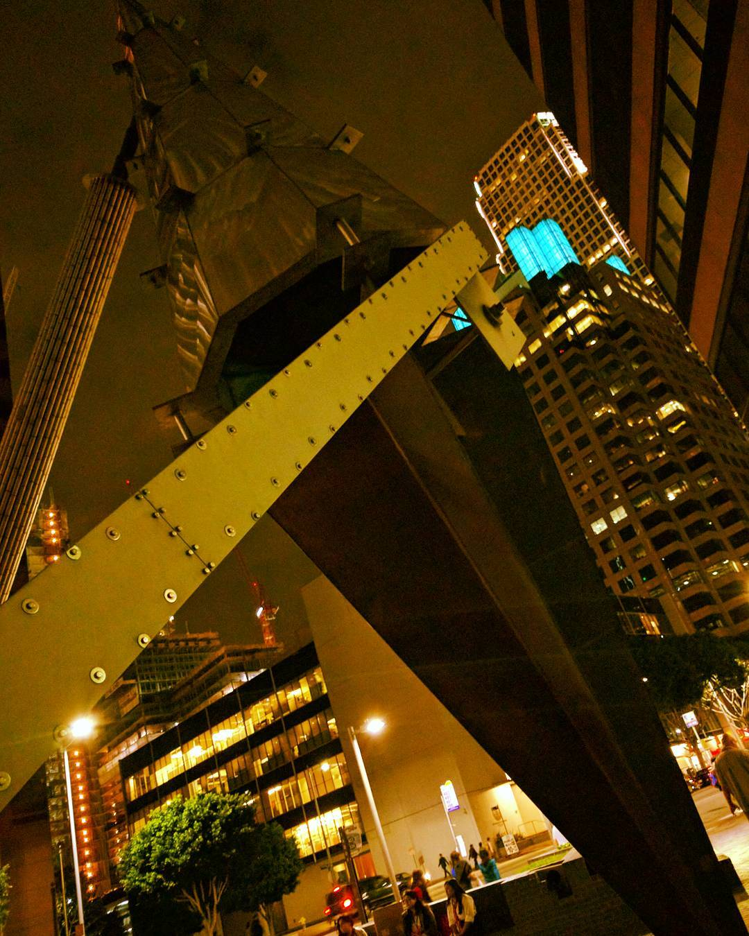 Not your typical view of Downtown LA at night.  #losangeles #downtownla #sculpture