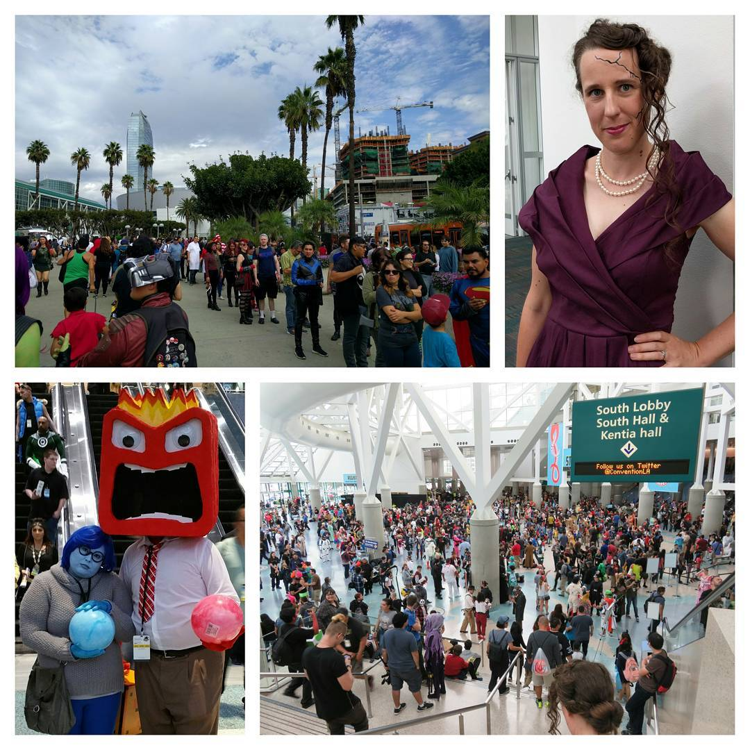 Yesterday at #lacomiccon: Waiting in line, Whitney Frost cosplay, sadness and anger, and crowds. More photos at flickr.com/kelsonv, writeup in my blog (see profile). #lacomiccon16 #lacomiccon2016 #whitneyfrost #insideout #cosplay #comikaze