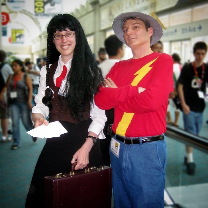 ! @casualcosplaykatie & Speed Force's own @kelsonv as Golden Age Flash Jay Garrick & Yomiko Readman aka The Paper from Read or Die, at Comic Con International in 2009.  Sadly, we don't have anyone on site at this year. We're following along online with everyone else! (We've posted this a couple of times, so I thought I'd try some post-processing using AfterFocus to blur the background. Not bad, though the edges are a little sharp