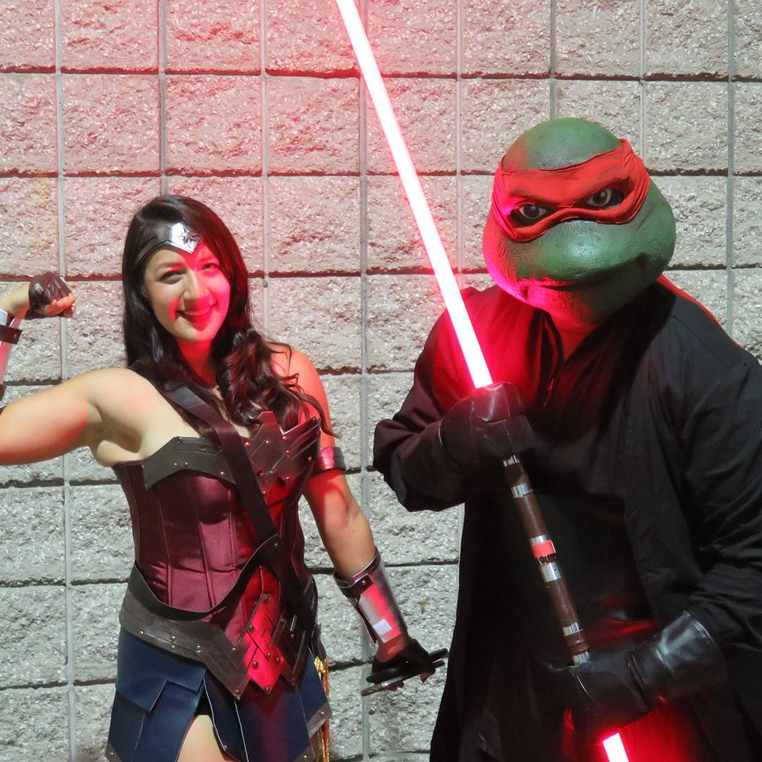 Wonder Woman and a Darth Ninja Turtle