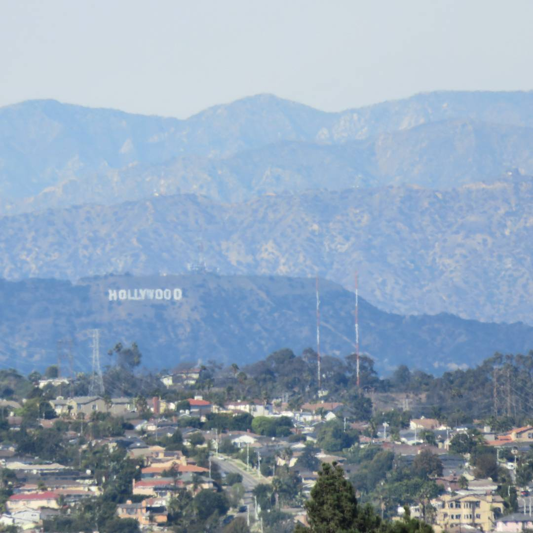 Layers of Hollywood hills & San Gabriel mountains on a clear LA day. Nice to have a break from the smog, and actually see landmarks 15 miles away (not to mention the mountains behind it!) #losangeles