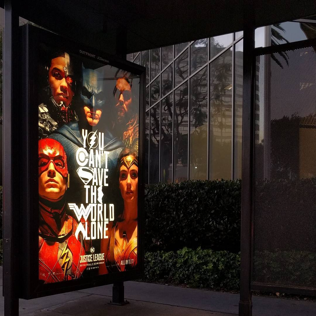 Justice League movie posters are appearing in the wild. Something about seeing ads outside the context of a comic con or a screen makes it feel more like it's really happening