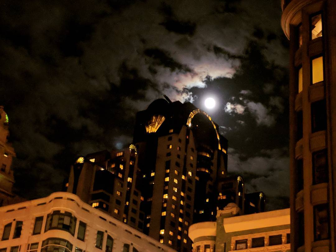 """""""Gotham needs you."""" View of the Marriott Marquis in San Francisco on a recent trip.  #night #sanfrancisco #moon #city"""