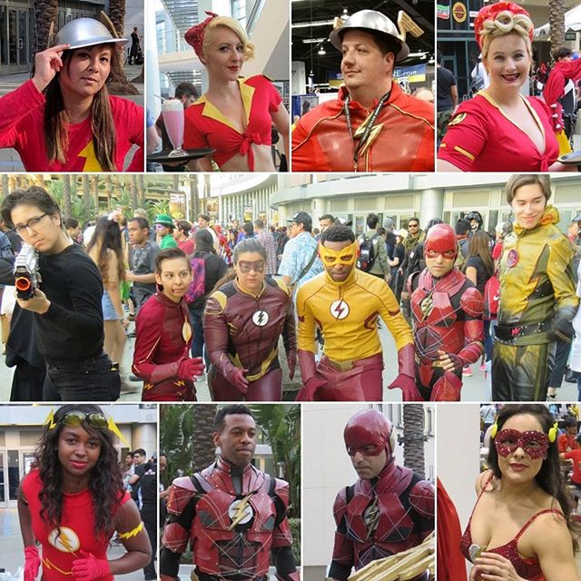 to the Flashes of 2017! I saw a lot of amazing Flash cosplayers last year at WonderCon!  Keep an eye out for photos from this year's convention, coming up this weekend. The rain should be over by then.  I've tried to identify as many of the cosplayers as possible. Please correct me if I've made any errors! ? as Jay Garrick @sylviaslays as DC Bombshells Flash/Jesse Quick @photo__rn as CW Jay Garrick ? as DC Bombshells Flash/Jesse Quick  In the CW group: ? as Harrison Wells ? as Flash/Barry Allen @findnjewels as Jesse Quick  @new_element_studios as Kid Flash @zyusouken85 as movie Flash @vigilantecosplay as Reverse Flash  @amariariana as Flash @new_element_studios as movie Flash @zyusouken85  as movie Flash ? as sparkly Flash