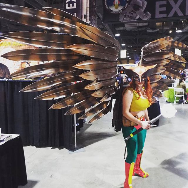 Impressive wingspan on Hawkgirl. It folds up & unfolds in seconds for walking around.  Full gallery at flickr.com/kelsonv @longbeachcomiccon