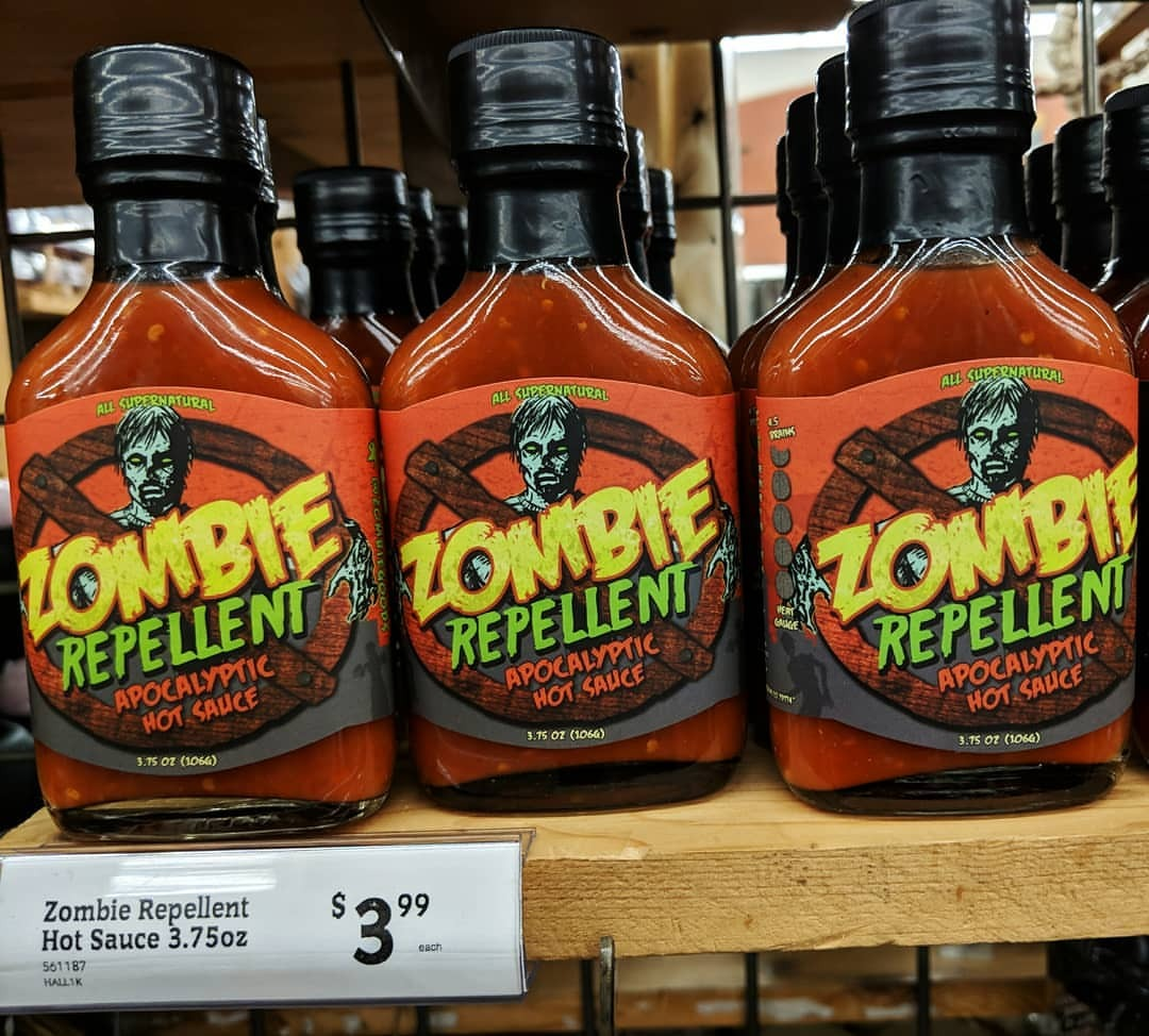 Bottles of Zombie Repellant hot sauce