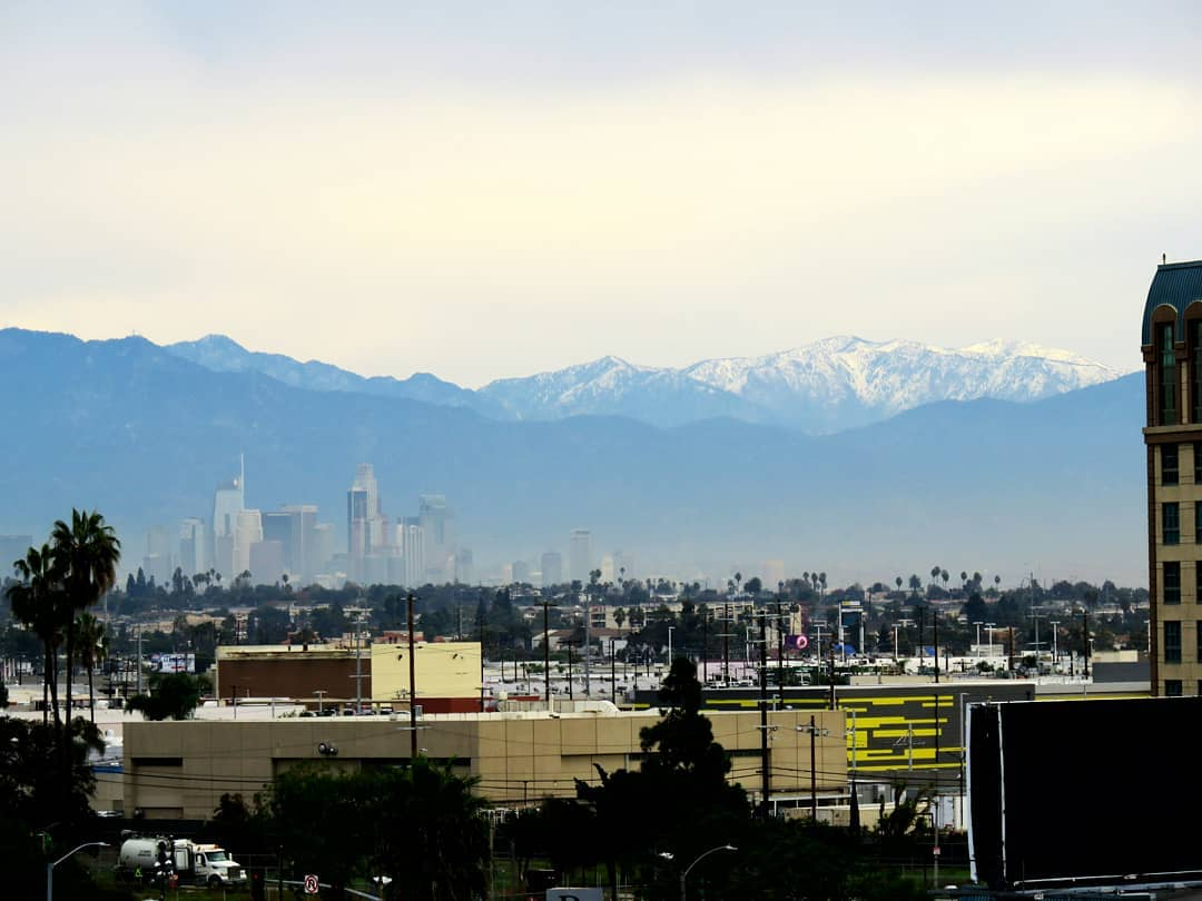 Snow in the mountains above Los Angeles, after last week's rainstorm.  Most winters there's at least one snowfall in the mountains by December. Last winter, the first one didn't hit until March. Here's hoping we'll see more water, both liquid and solid, this coming year
