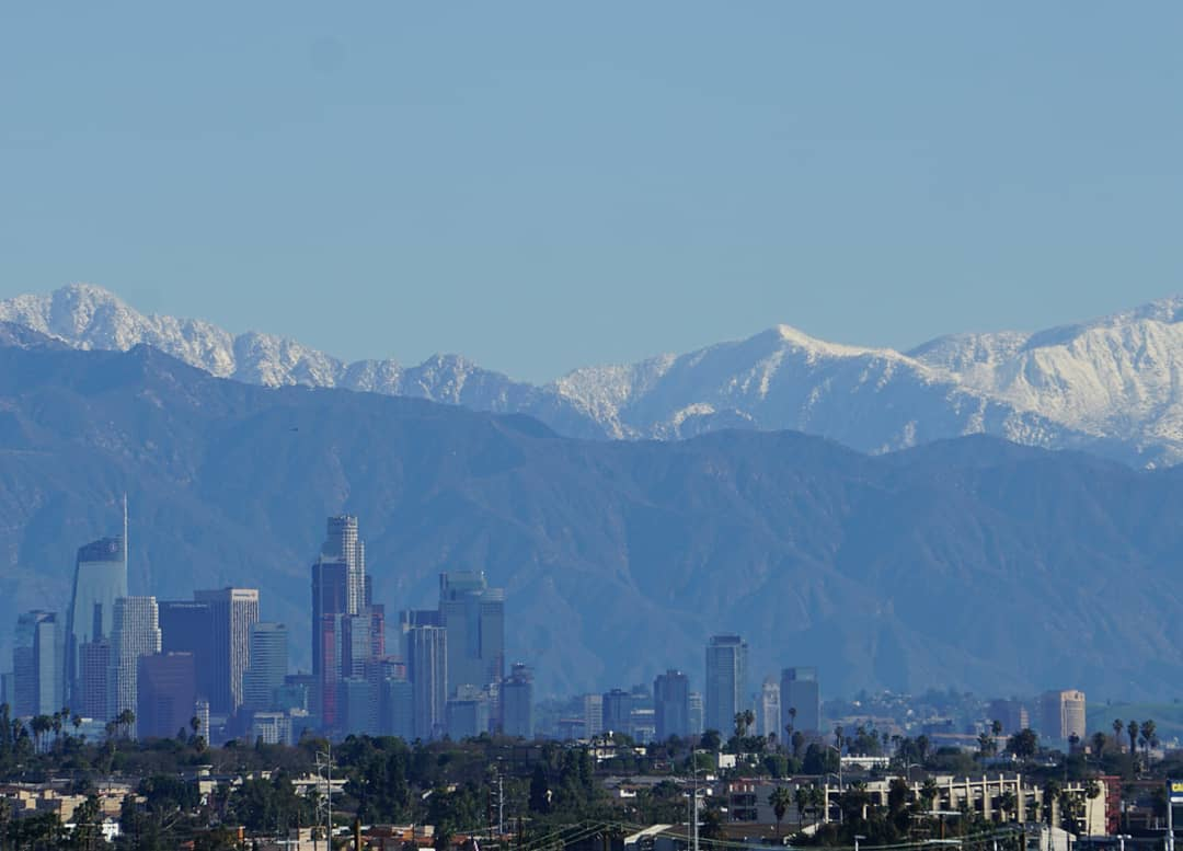 Snow in the mountains above Los Angeles.