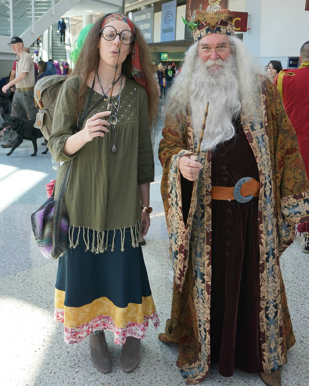 Professors Trelawney and Dumbledore at @wondercon  More photos on Flickr/KelsonV