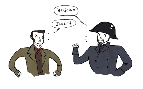 Valjean and Javert confront each other.