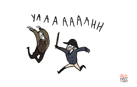 Logan Valjean and Javert Maximus charge each other screaming YAAAAAAAH!
