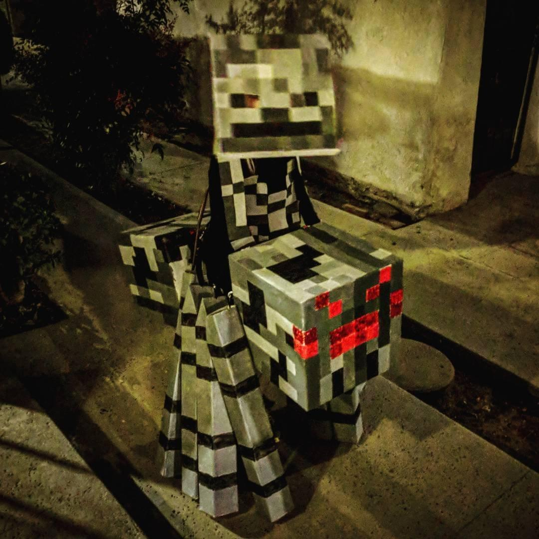 Kid's homemade #Halloween costume: a #Minecraft spider jockey. His mom did the construction, I helped a bit with the painting, and he's still able to fit in the harness, so he's planning to take it out again this year. Building the thing was a lot of work, but he's getting a lot of use out it.