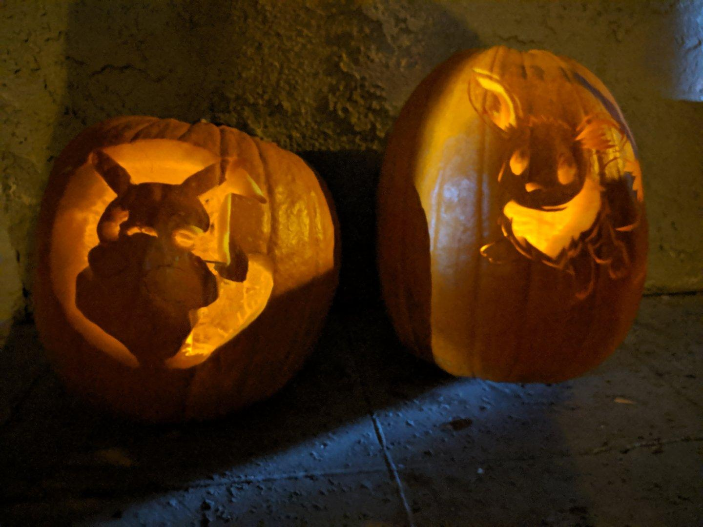 This year's jack-o'-lantern theme: #Pokemon. (No big surprise, since the kid has jumped into the franchise with both feet lately.) #halloween