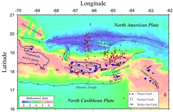 RT @DrLucyJones: Puerto Rico is caught between two subduction zones. The current quake swarm is off the southwest coast, past of the adjustment between the two big faults. Sort of like Northridge 1994 was on a small fault to adjust for the bend in the San Andreas fault.