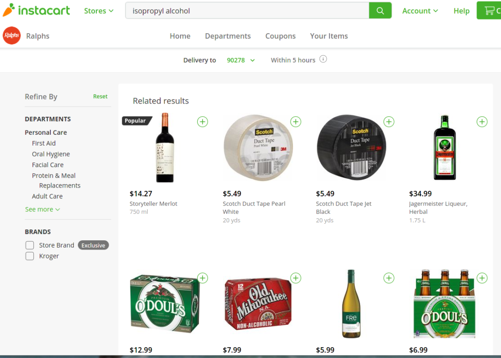 Online shopping search: Isopropyl alcohol not found, have you tried wine, Jagermeister, duct tape or non-alcoholic beer?