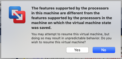 VMWare error: The features supported by the processor in this machine are different from the features supported by the processor in the machine on which the virtual machine was saved.