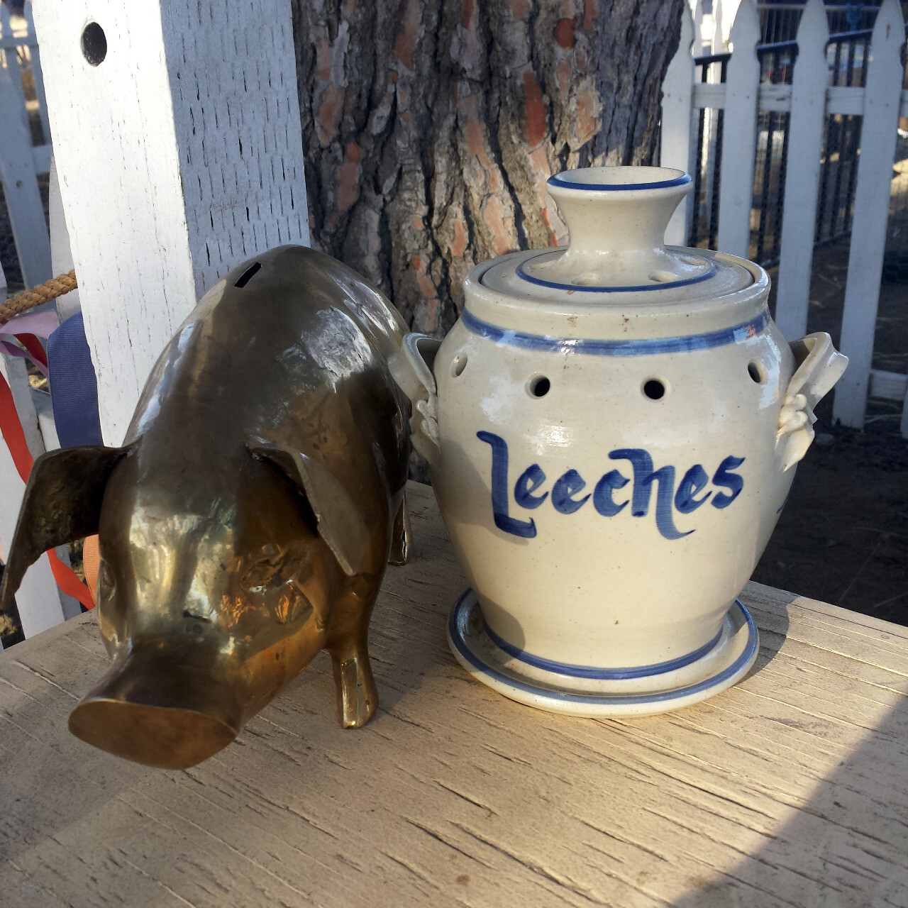 Ceramic jar labeled Leeches on a shelf next to a bronze(?) statue of a pig.