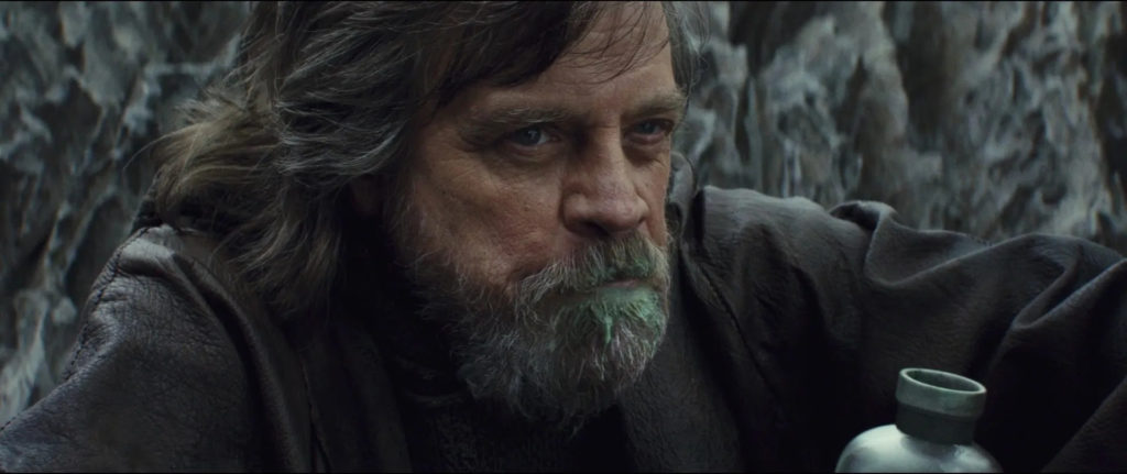 Grumpy old Luke Skywalker in The Last Jedi drinking milk fresh from...whatever it is.