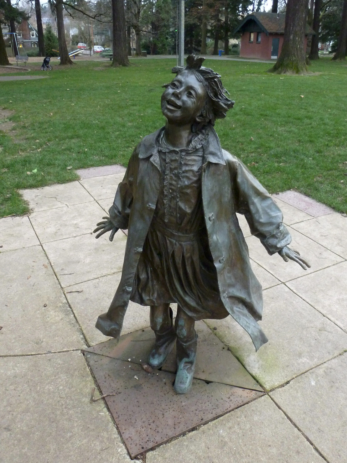 Statue of Ramona Quimby, one of several inspired by Beverly Cleary characters in Grant Park ...