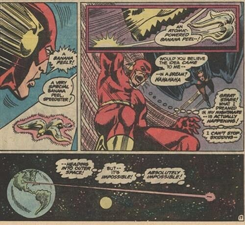 #TheFlash vs. the atomic banana peel.Apparently from Justice League of America #154, May 1978. ...